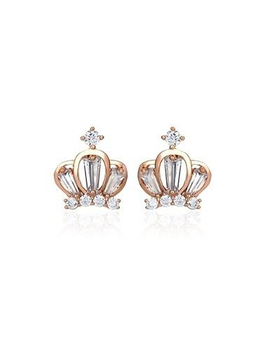 Tophills Diamond Co. 1 Ct Pırlanta Efekt Altın Chic Crown Roz Küpe  Renkli